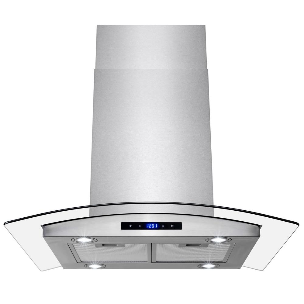 Kitchen Island With Stove And Hood: AKDY 30 In. Convertible Kitchen Island Mount Range Hood In Stainless Steel With Tempered Glass