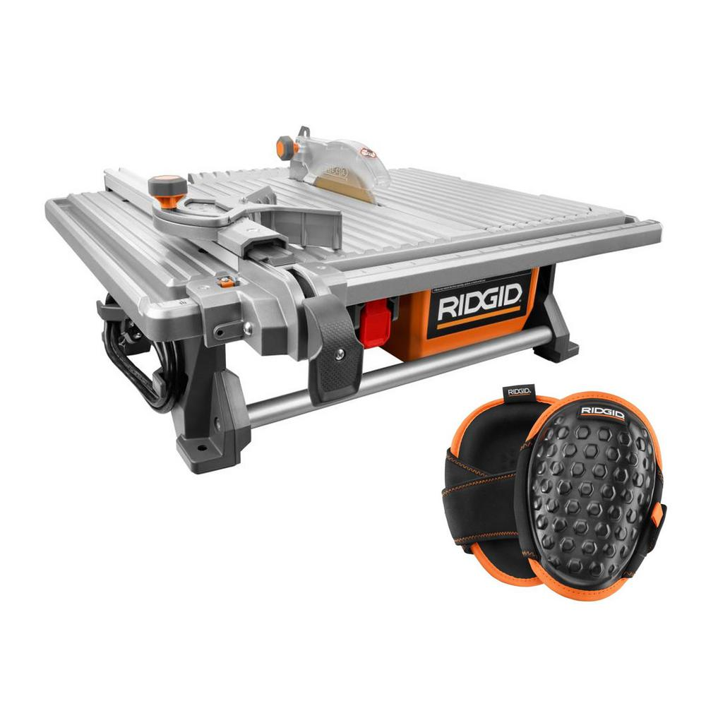 RIDGID 6.5 Amp Corded 7 in. Table Top Wet Tile Saw with Gel-Foam Knee Pads
