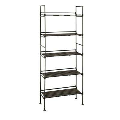 56.62 in. H x 25.37 in. W x 11.37 in. D Black 5-Shelf Wire Shelving Unit