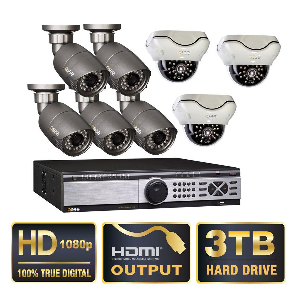 Q-SEE Platinum Series 16-Channel 3TB SDI Surveillance System with 5 Bullet and 3 Dome 1080p Cameras, 50 ft. Night Vision