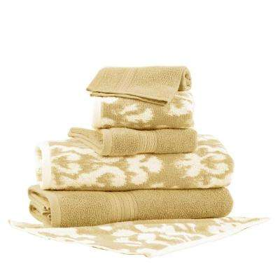 Ikat Damask 6-Piece Cotton Bath Towel Set in Gold