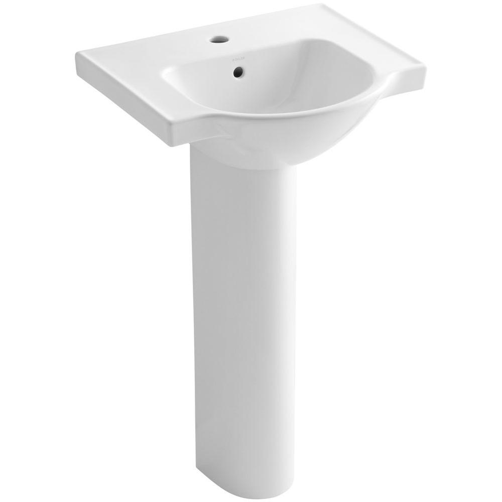 KOHLER Veer Vitreous China Pedestal Combo Bathroom Sink In White With  Single Faucet Hole With Overflow