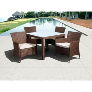 Atlantic Contemporary Lifestyle Grand New Liberty Deluxe Brown 5-Piece Square All-Weather Wicker Patio Dining Set with... by Atlantic Contemporary Lifestyle