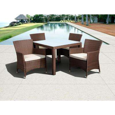 Grand New Liberty Deluxe Brown 5-Piece Square All-Weather Wicker Patio Dining Set with Off-White Cushions