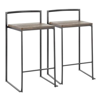 Fuji 28 in. Industrial Black and Espresso Counter Stool (Set of 2)