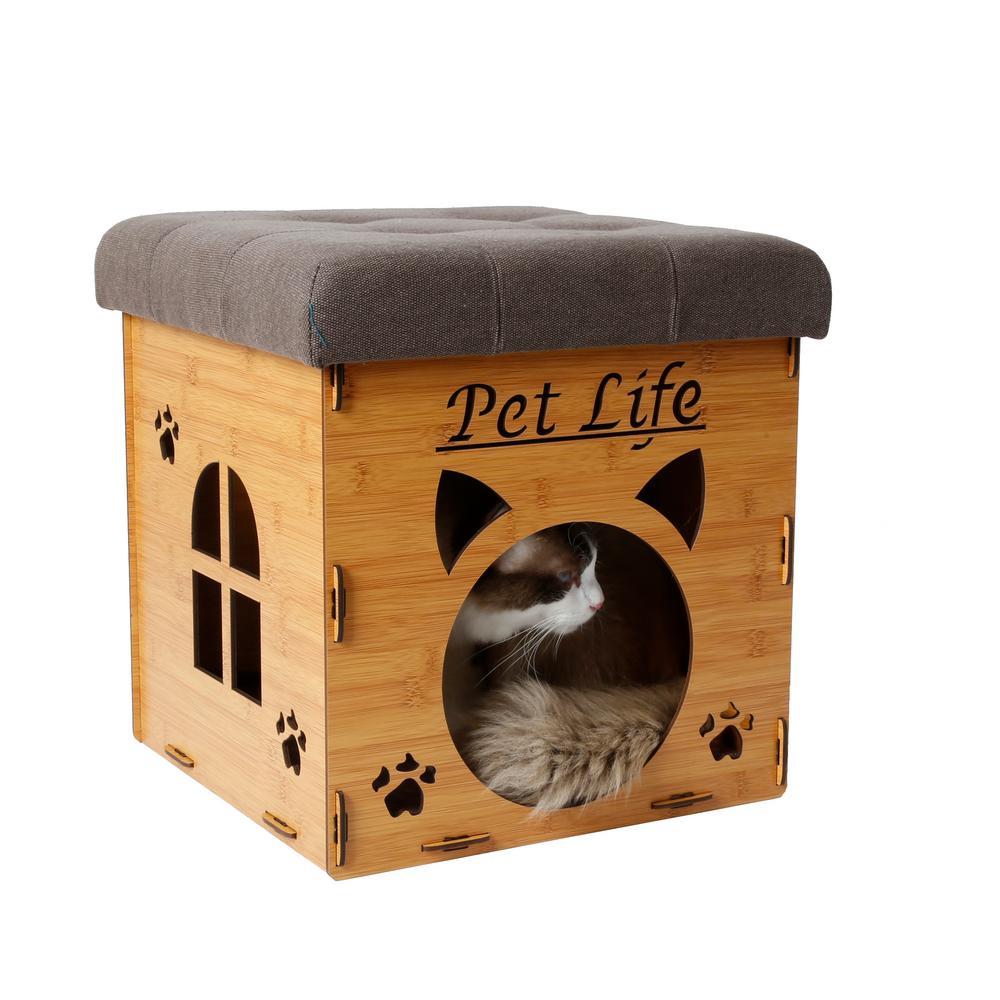 Pet Life Light Wood Foldaway Collapsible Designer Cat House Furniture Bench