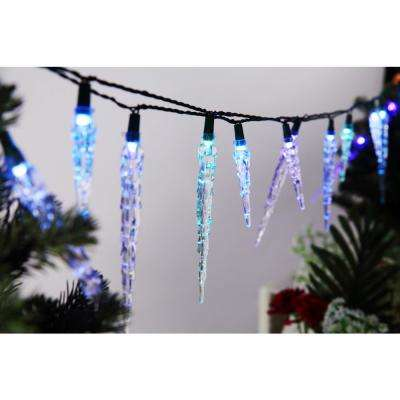 25-Light 15.4 ft Wi-Fi RGB Color-Changing LED Icicle String Light Set, works with Alexa