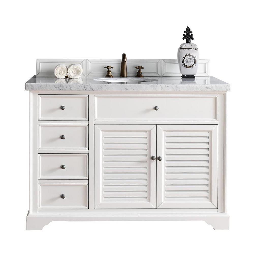 Savannah 48 in. W Single Vanity in Cottage White with Marble