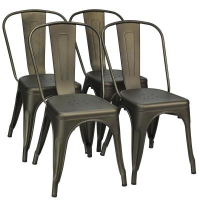 Set of 4 Tolix Style Dining Side Chair Stackable Bistro Cafe Metal Stool Gun