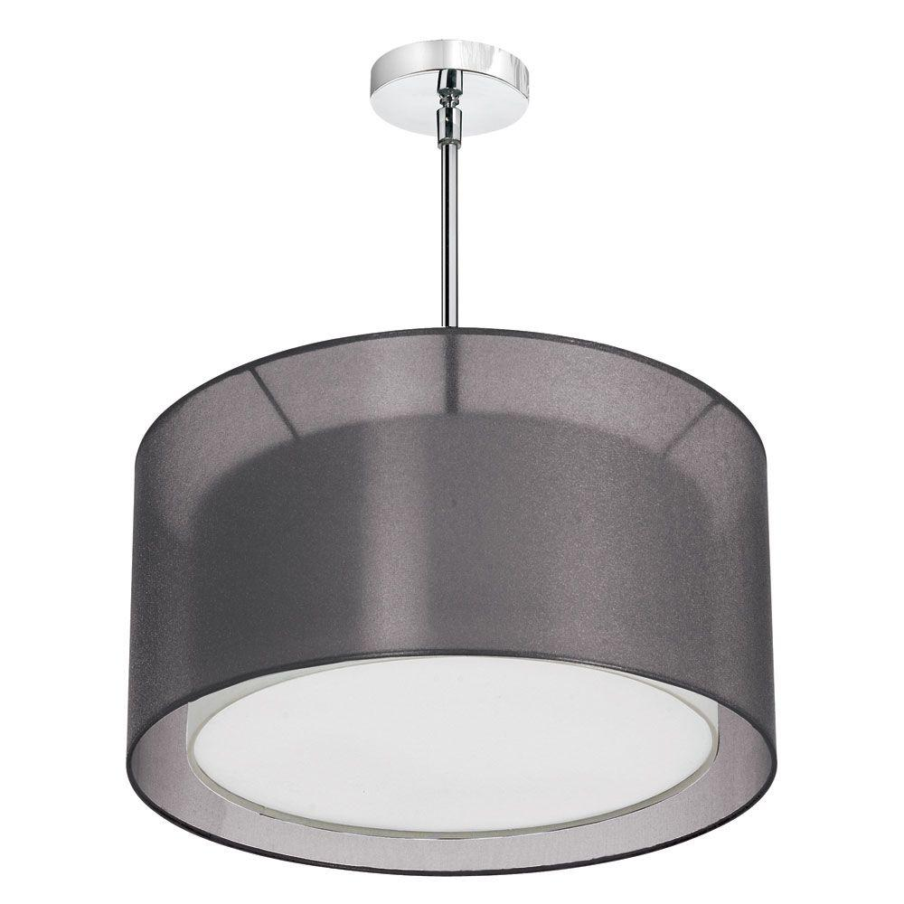 Melissa 3-Light Satin Chrome Pendant with Black Laminated Organza and White