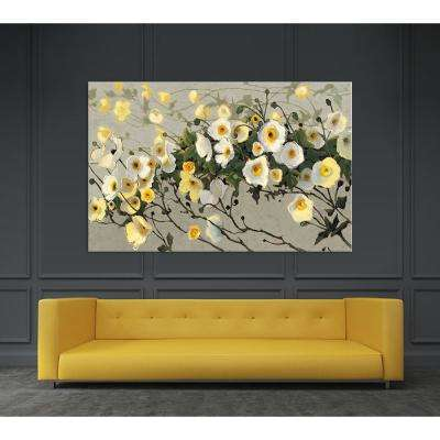 "48 in. x 84 in. ""Breezes Gray Crop"" by Shirley Novak Printed Framed Canvas Wall Art"