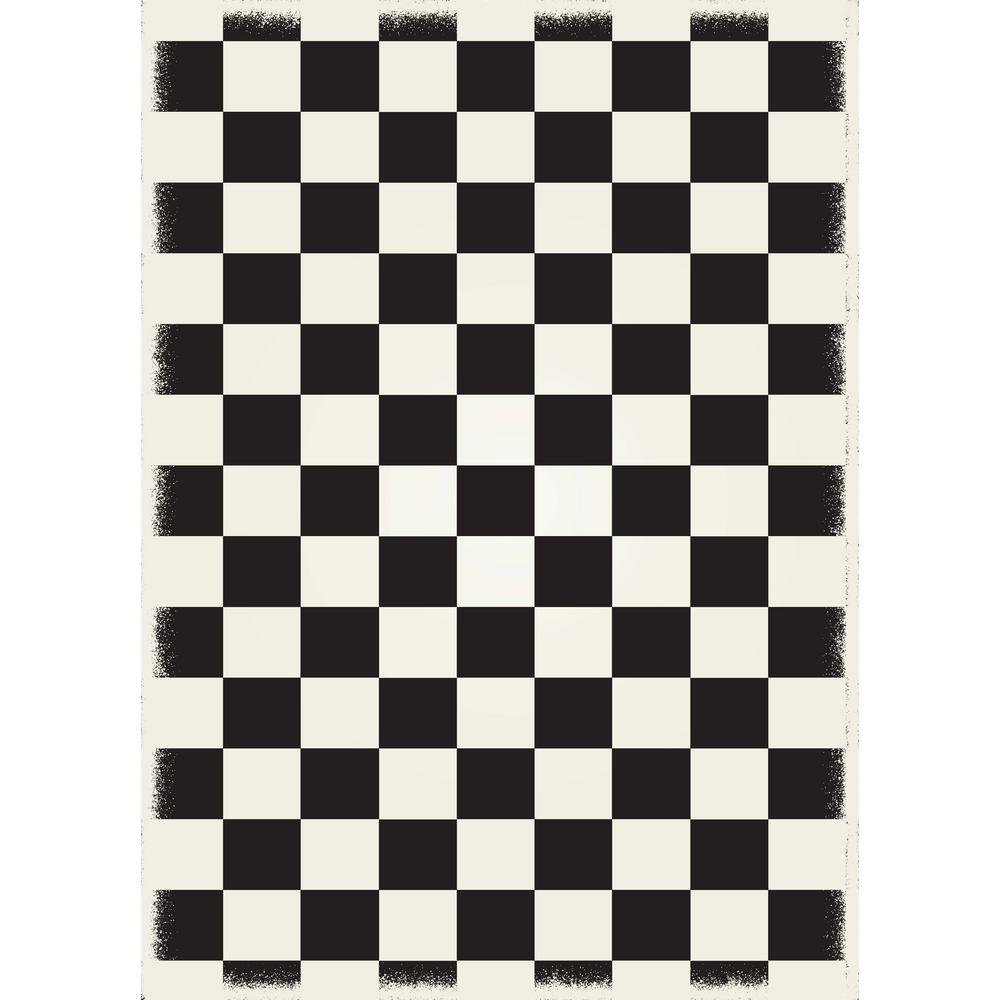 aspen brands english checker design 5ft x 7ft black white with a