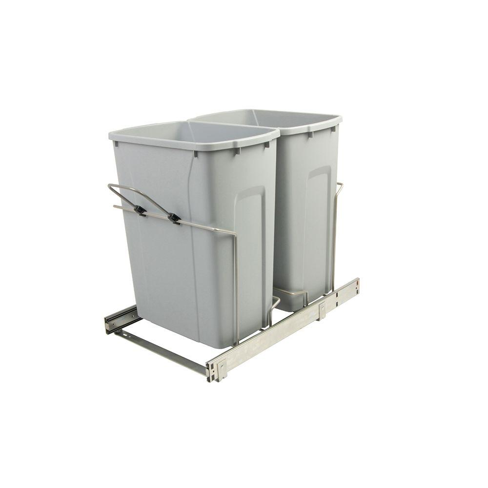 Knape & Vogt 14.375 in. x 22 in. x 18.75 in. 35 Qt. In-Cabinet Double Soft-Close Bottom-Mount Pull-Out Trash Can