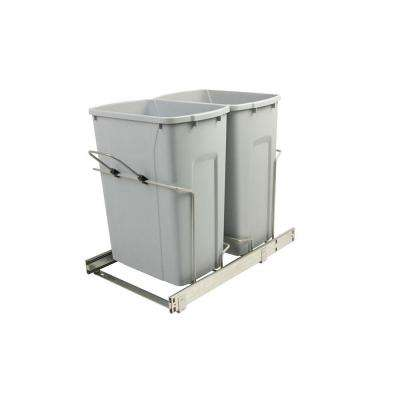 14.375 in. x 22 in. x 18.75 in. 35 Qt. In-Cabinet Double Soft-Close Bottom-Mount Pull-Out Trash Can