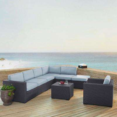 Biscayne 7-Person Wicker Outdoor Seating Set with Mist Cushions