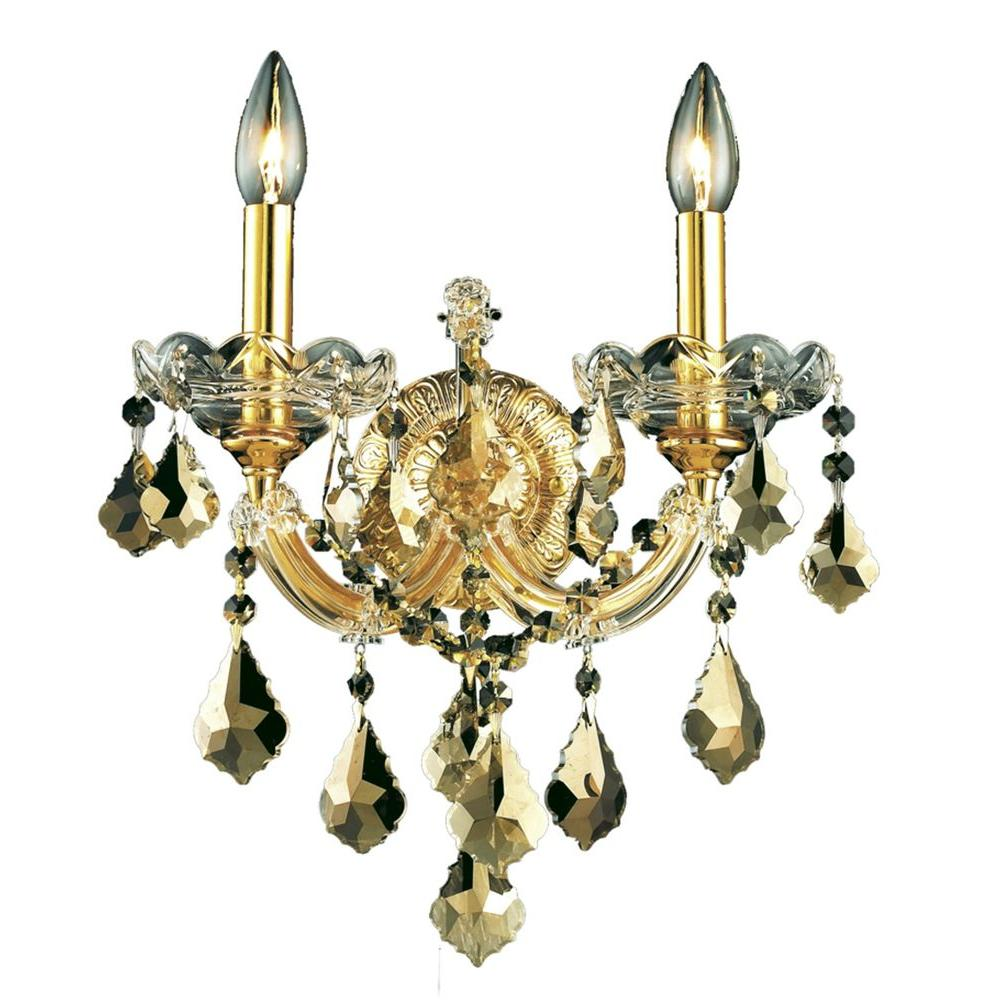 2-Light Gold Wall Sconce with Golden Teak Smoky Crystal