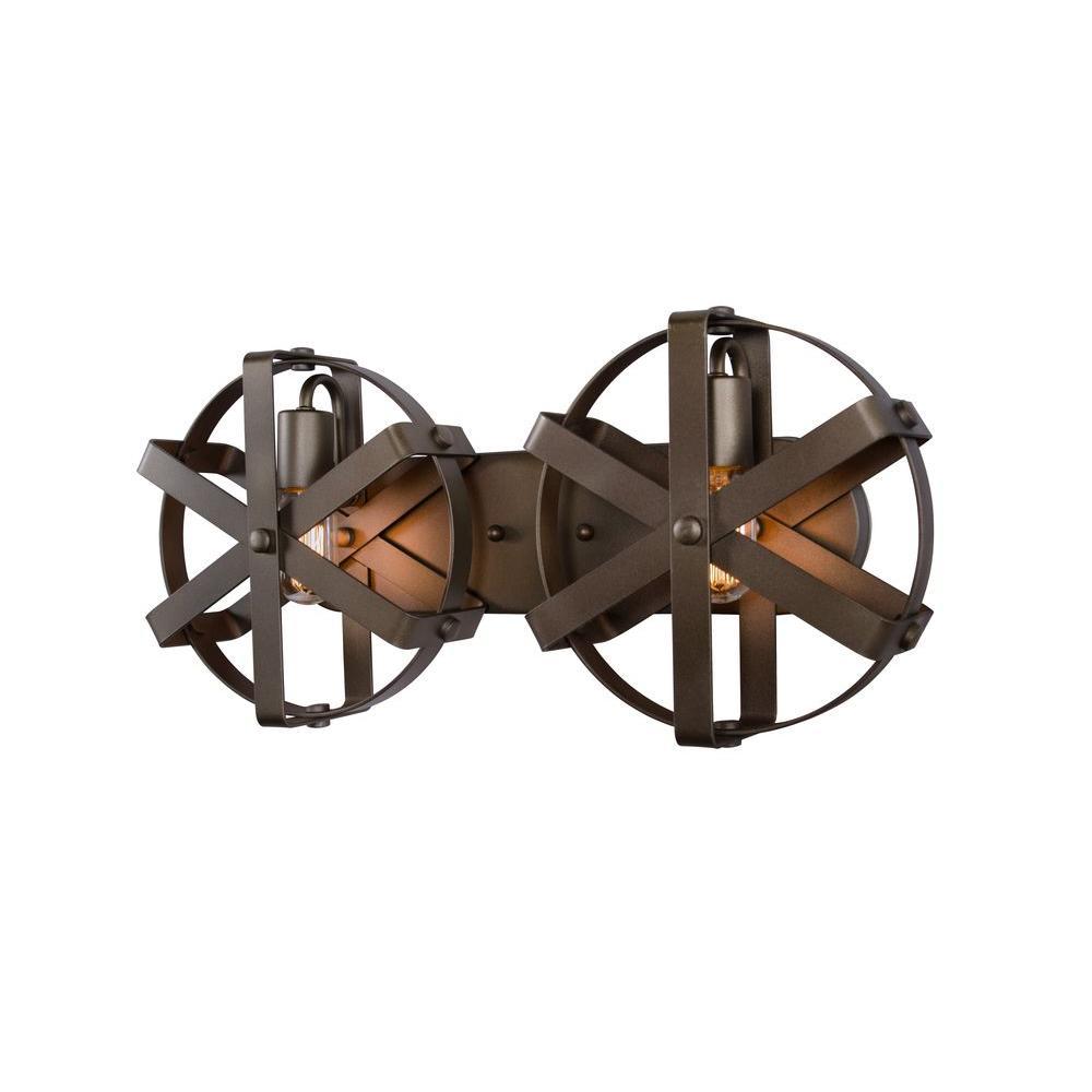 Reel 2-Light Rustic Bronze Sconce