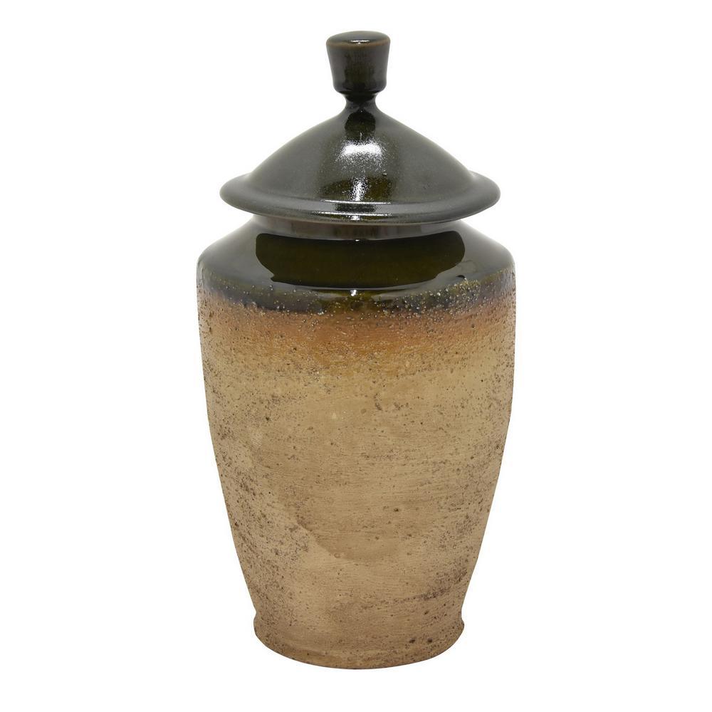 14 in. Brown Lidded Ceramic Jar