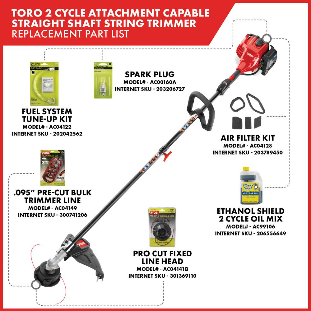 Toro 2 Cycle 25 4cc Attachment Capable Straight Shaft Gas String Trimmer 51978 The Home Depot