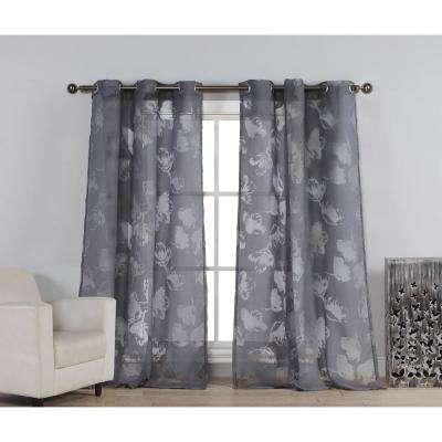 Aster 84 in. L Polycotton Burnout Grommet Panel in Dark Grey (1-Pack)