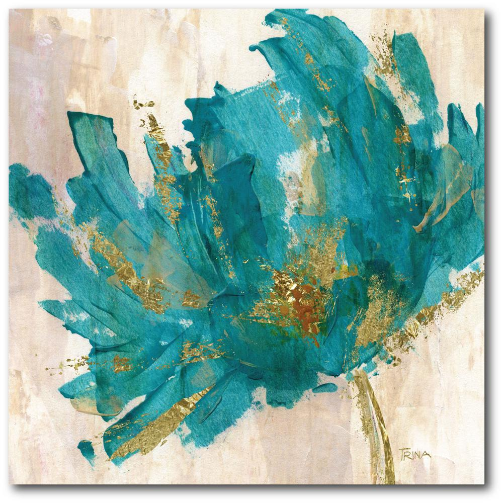 Contemporary Teal Flower Canvas Wall Art Web Ac180t The