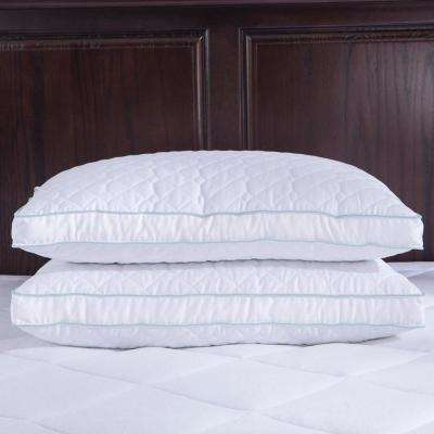 Puredown Quilted Goose Feather and Down Jumbo Pillow with Gusset Twin Pack Standard/Queen in White