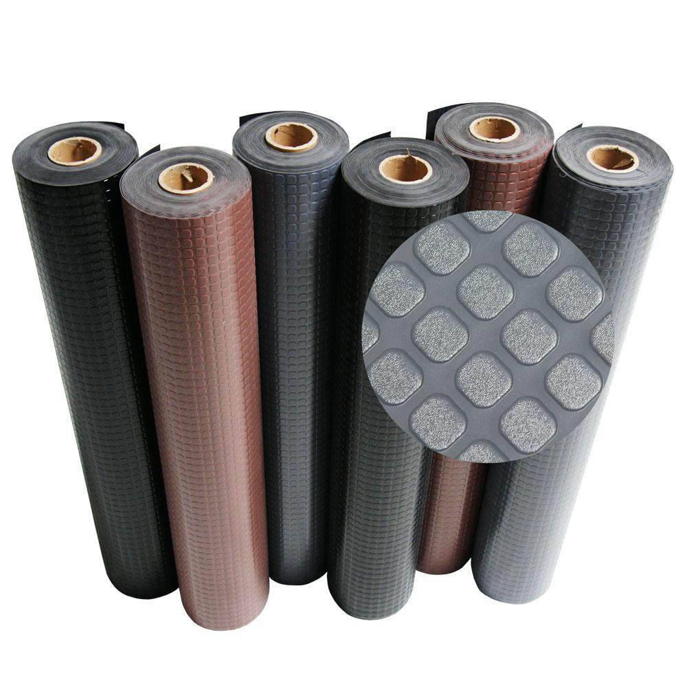 Block-Grip 4 ft. x 12 ft. Dark Gray Commercial PVC Flooring