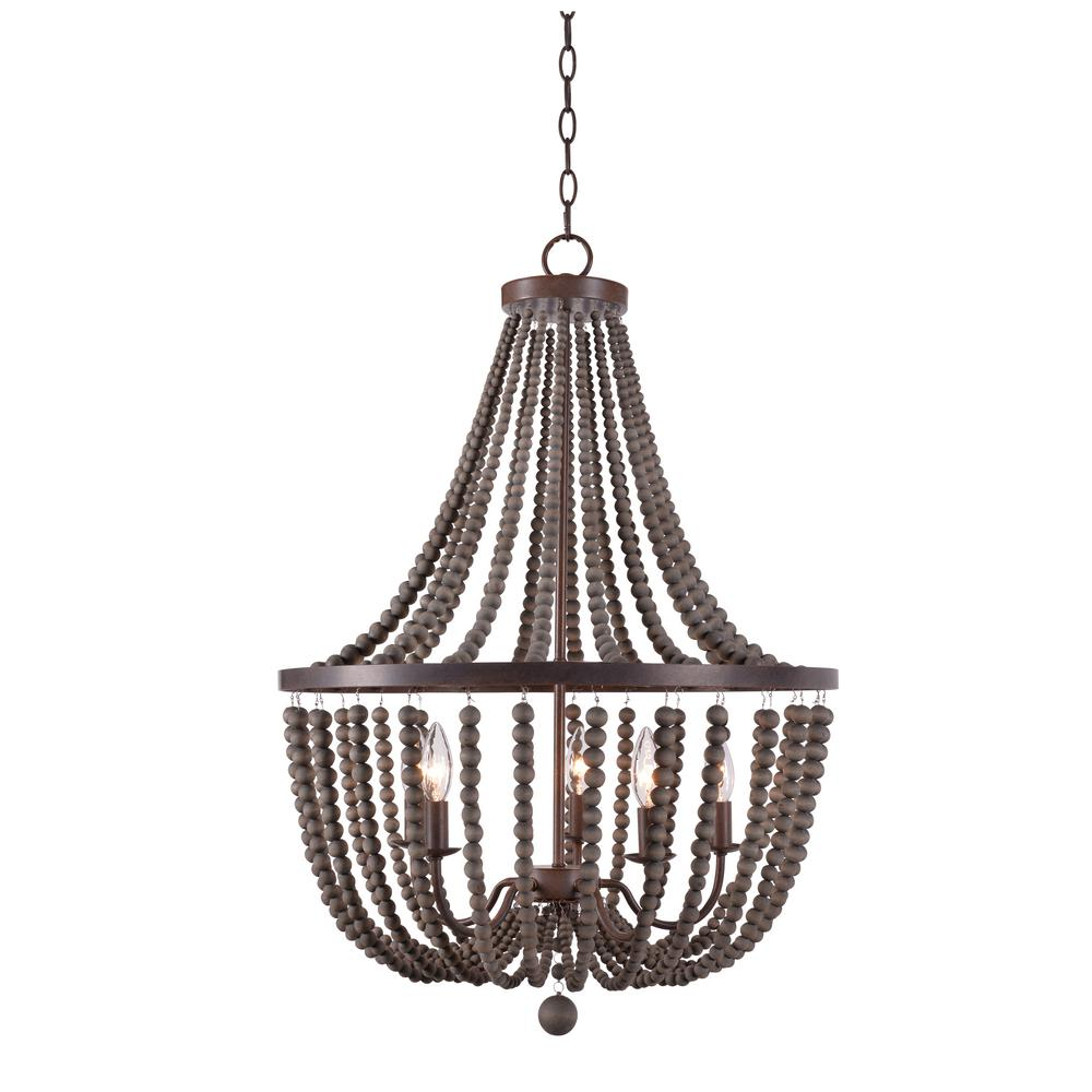 Kenroy home dumas 5 light golden bronze wood bead chandelier kenroy home dumas 5 light golden bronze wood bead chandelier aloadofball Image collections