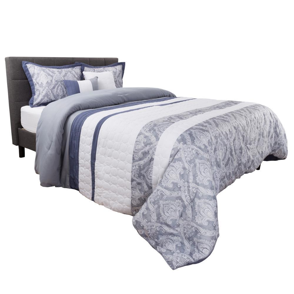 5-Piece Grey/White Elegant Paisley Design Queen Comforter Set