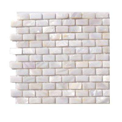 Pitzy Brick Castel Del Monte White Pearl Mini Brick Pattern Floor and Wall Tile - 6 in. x 6 in. x 2 mm Tile Sample