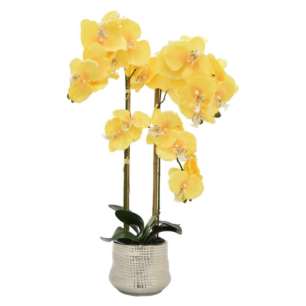 Faux Orchid Flower Pot in Yellow 11041 - The Home Depot  sc 1 st  Home Depot & THREE HANDS 26 in. Faux Orchid Flower Pot in Yellow 11041 - The Home ...
