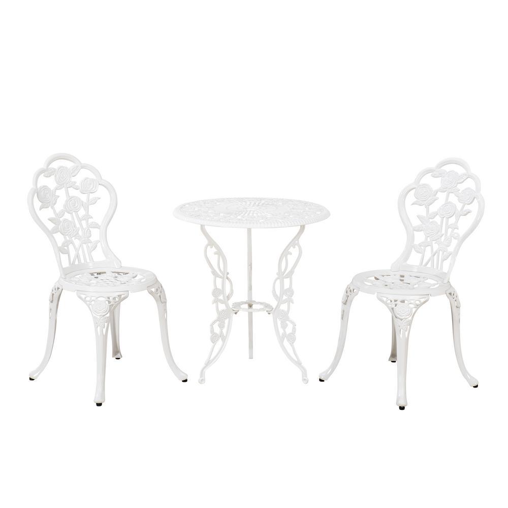 Harrah Floral White 3-Piece Aluminum Outdoor Bistro Set