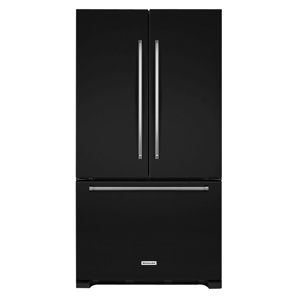 36 in. W 25.2 cu. ft. French Door Refrigerator in Black