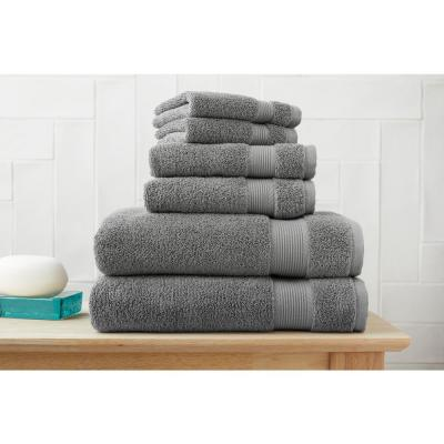 6-Piece Hygrocotton Towel Set in Stone Gray