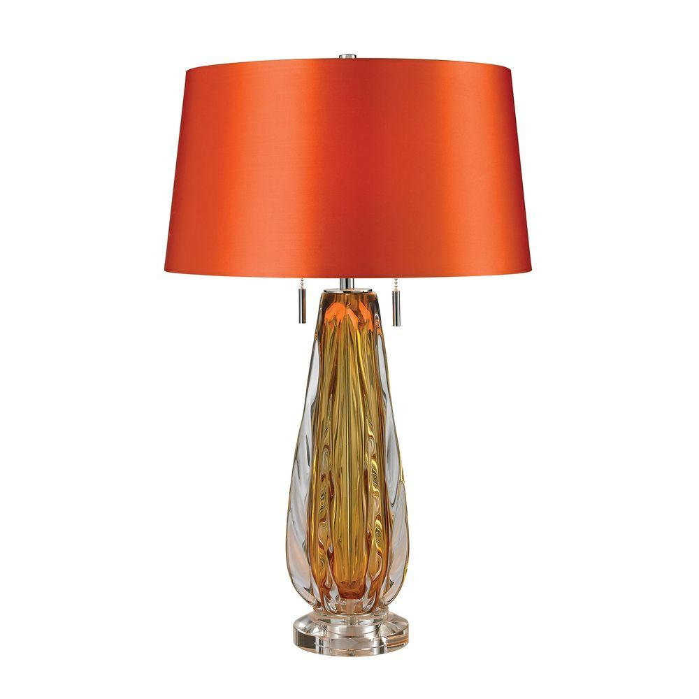 Lovely Titan Lighting Modena 26 In. Amber Free Blown Glass Table Lamp
