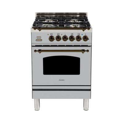 24 in. 2.4 cu. ft. Single Oven Italian Gas Range with True Convection, 4 Burners, Bronze Trim in Stainless Steel