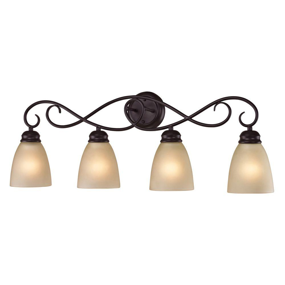 Titan Lighting Chatham 4-Light Oiled Rubbed Bronze Wall Mount Bath Bar Light