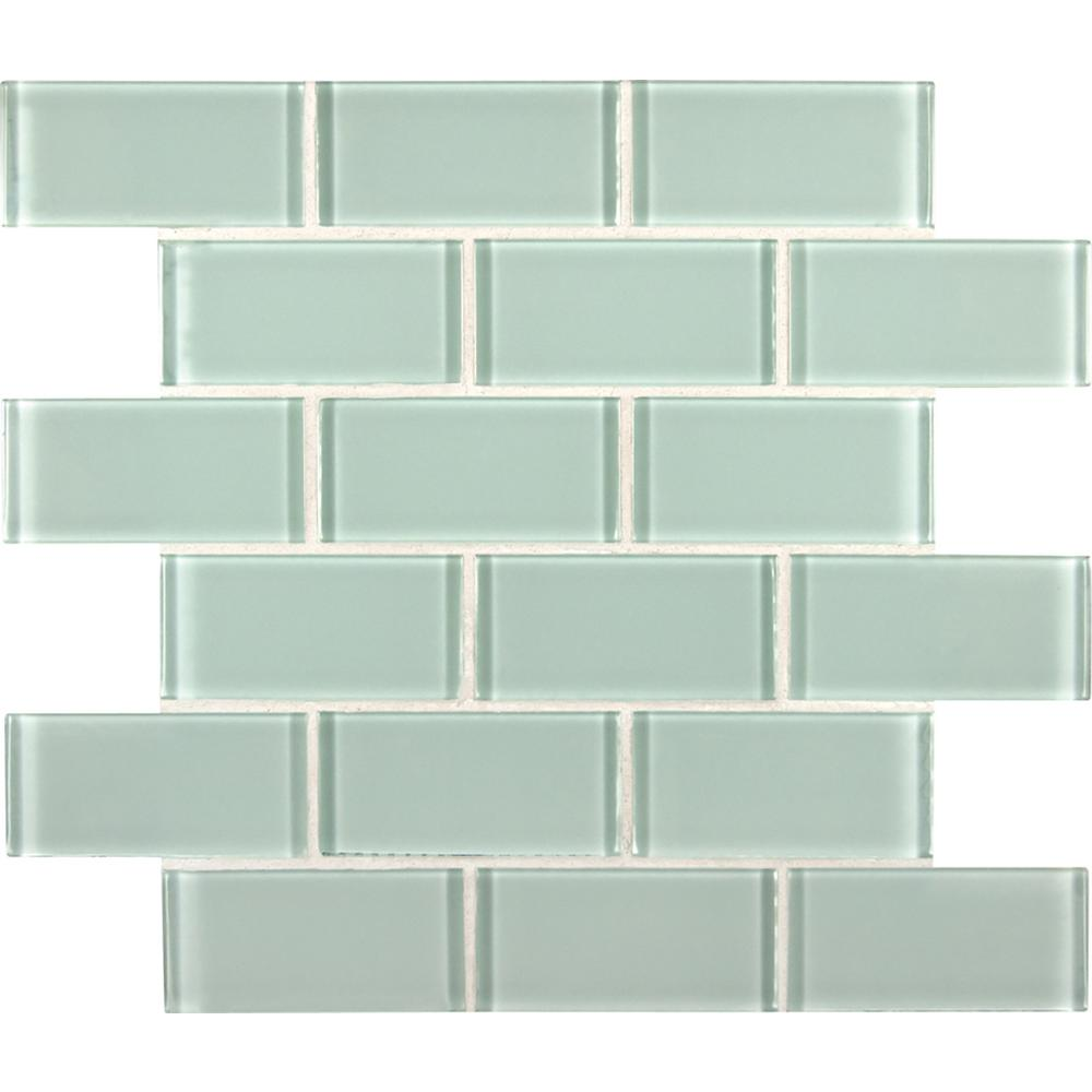 MSI Arctic Ice Subway 12 in. x 12 in. x 8mm Glass Mesh-Mounted Mosaic Tile