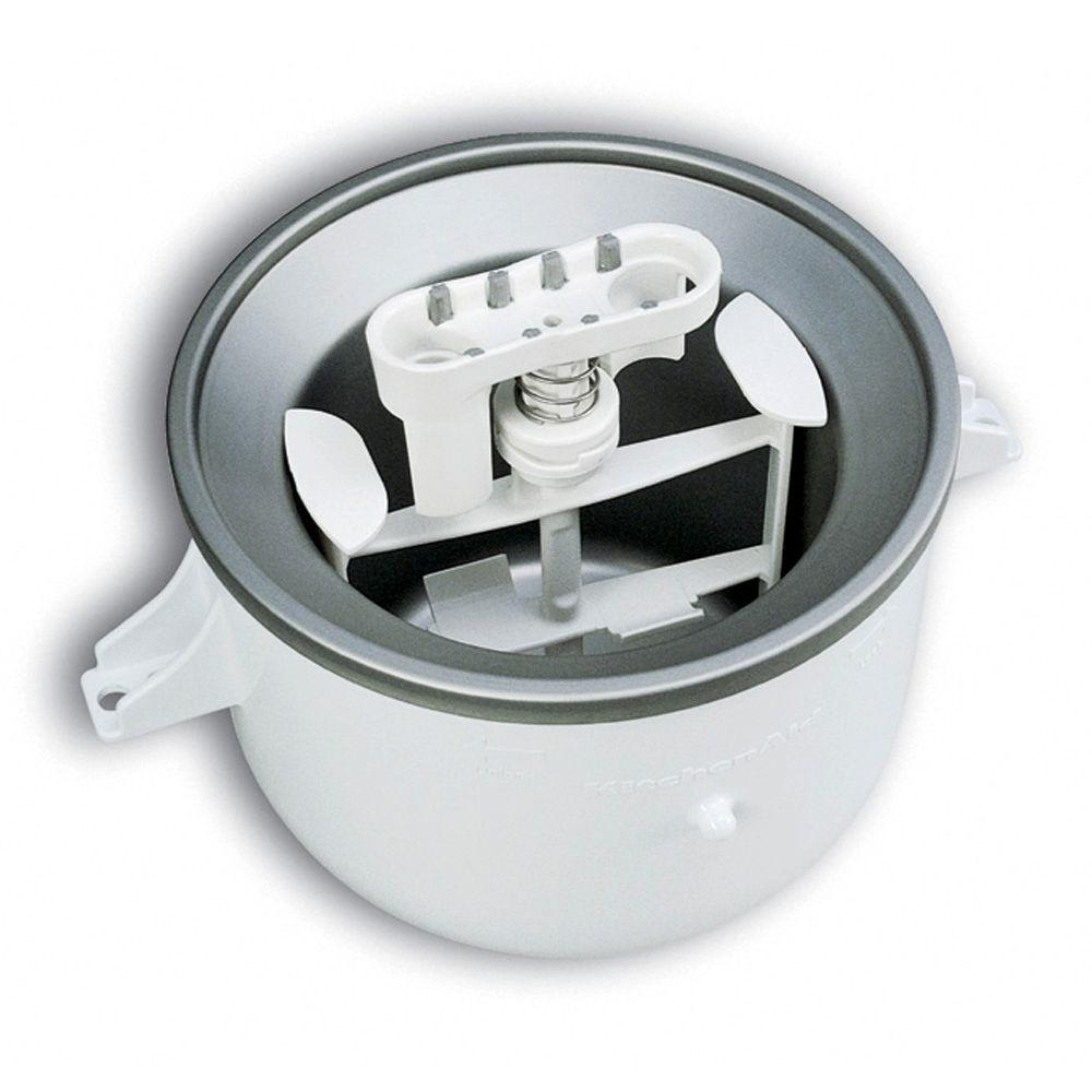 KitchenAid White Ice Cream Maker Attachment for Stand Mixers The KitchenAid Ice Cream Maker Attachment for KitchenAid Stand Mixers is designed to help you make up to 2 qt. of ice cream, frozen yogurt or sorbet in approximately 20 - 30 minutes. Color: White.
