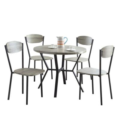 5-Piece Round Wooden and Metal Dining Table and Chair