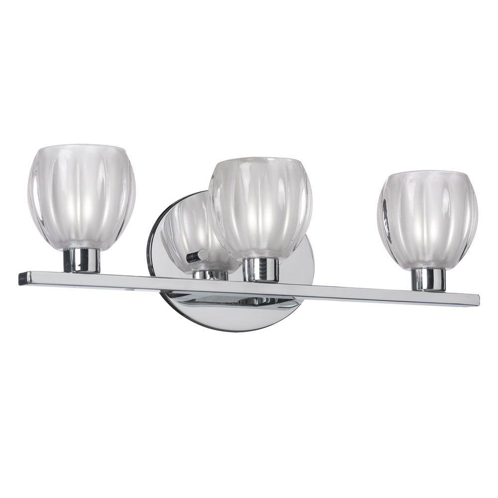 Radionic Hi Tech Nella 3-Light Polished Chrome Vanity Light with Clear Frosted Floral Glass