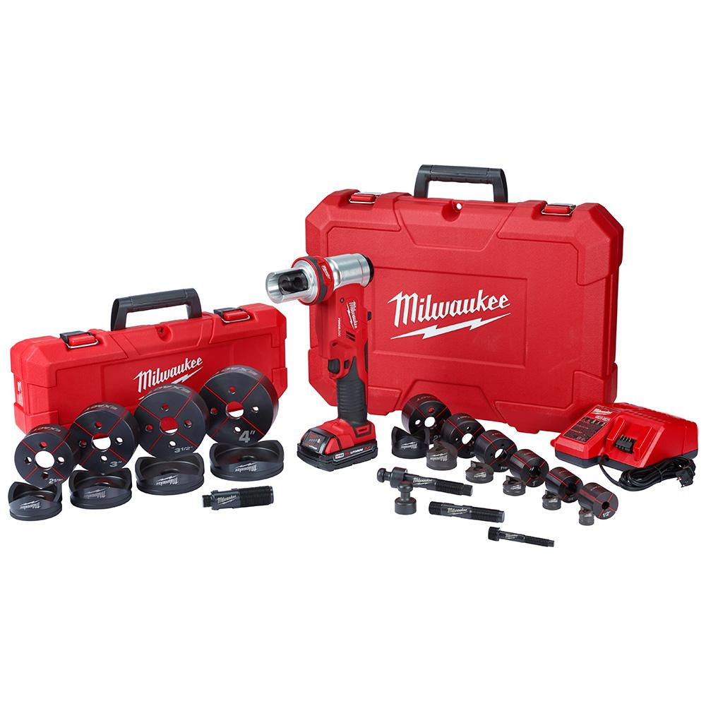 Milwaukee M18 18-Volt Lithium-Ion 1/2 in. to 4 in. Force Logic 6 Ton Cordless Knockout Tool Kit W/ Die Set, (2) 2.0Ah Batteries