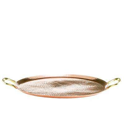 15.5 in. Copper Hammered Round Tray with Brass Handles