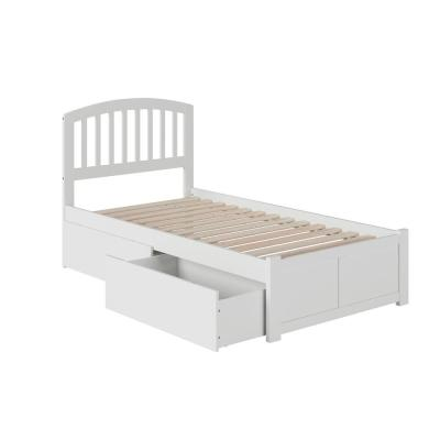 Richmond White Twin Platform Bed with Flat Panel Foot Board and 2-Urban Bed Drawers