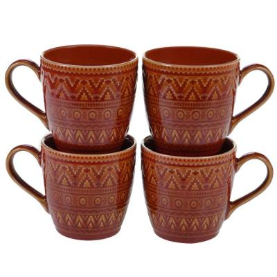 Aztec 4-Piece Patterned Multi-Colored Stoneware 16 oz. Mug Set (Service for 4)