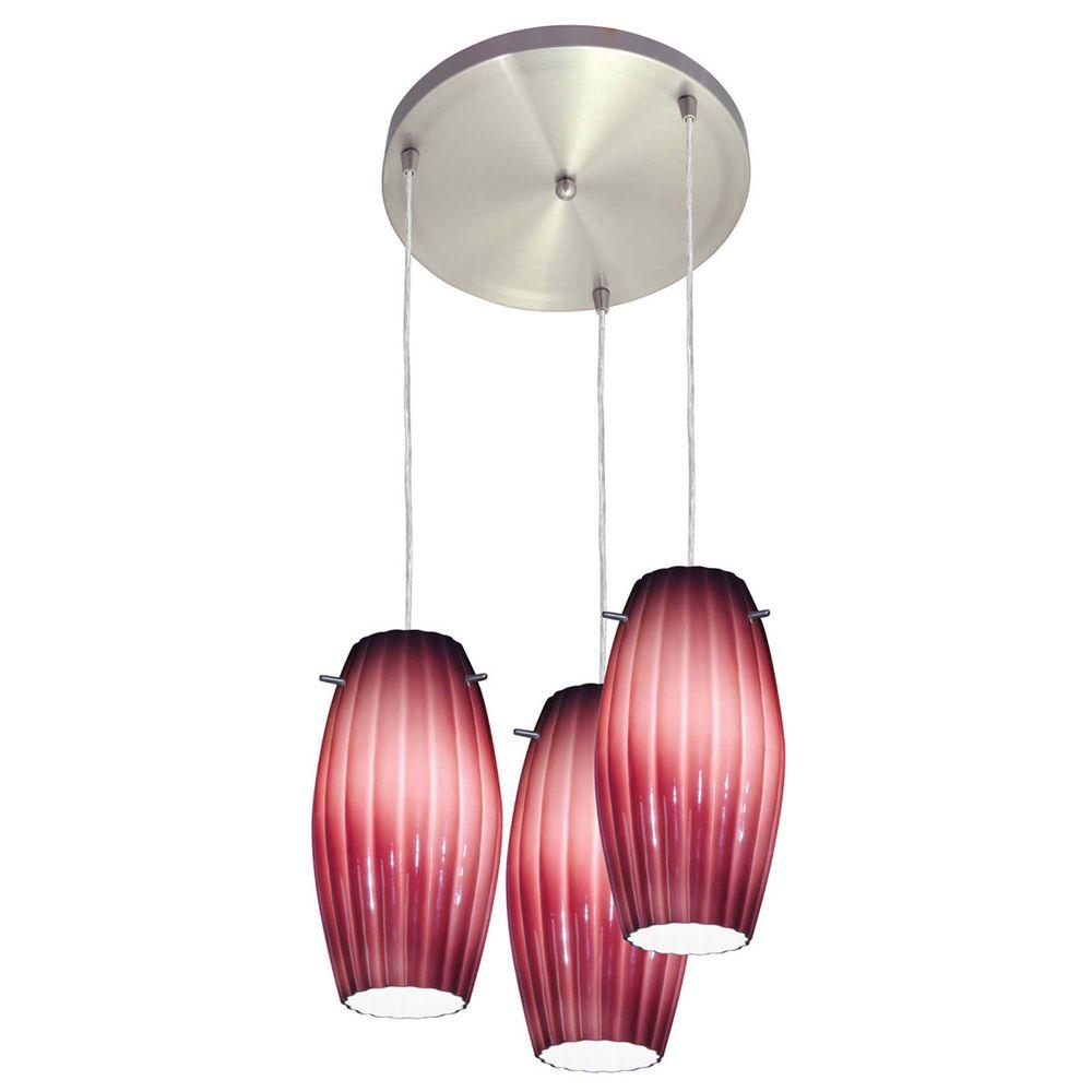 Access Lighting 3-Light Pendant Brushed Steel Finish Plum Glass-DISCONTINUED