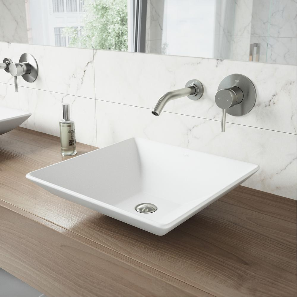 White Matte Stone Vessel Bathroom Sink