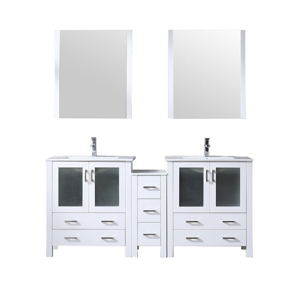 Lexora Volez 72 in. Single Bath Vanity in White w/ Integrated Vanity Top in White w/ White Square Sink and 28 in. Mirrors