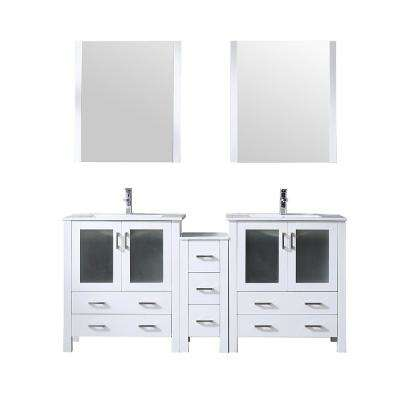 Volez 72 in. Single Bath Vanity in White w/ Integrated Vanity Top in White w/ White Square Sink and 28 in. Mirrors