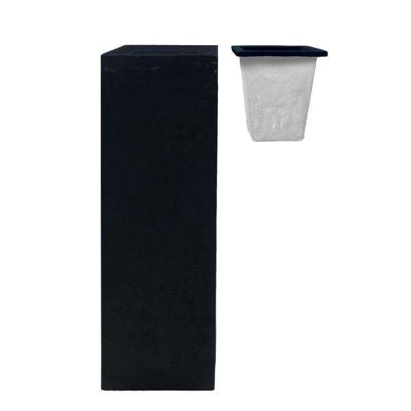 14 in. Square Cast Stone Modern Planter with Liner in Black